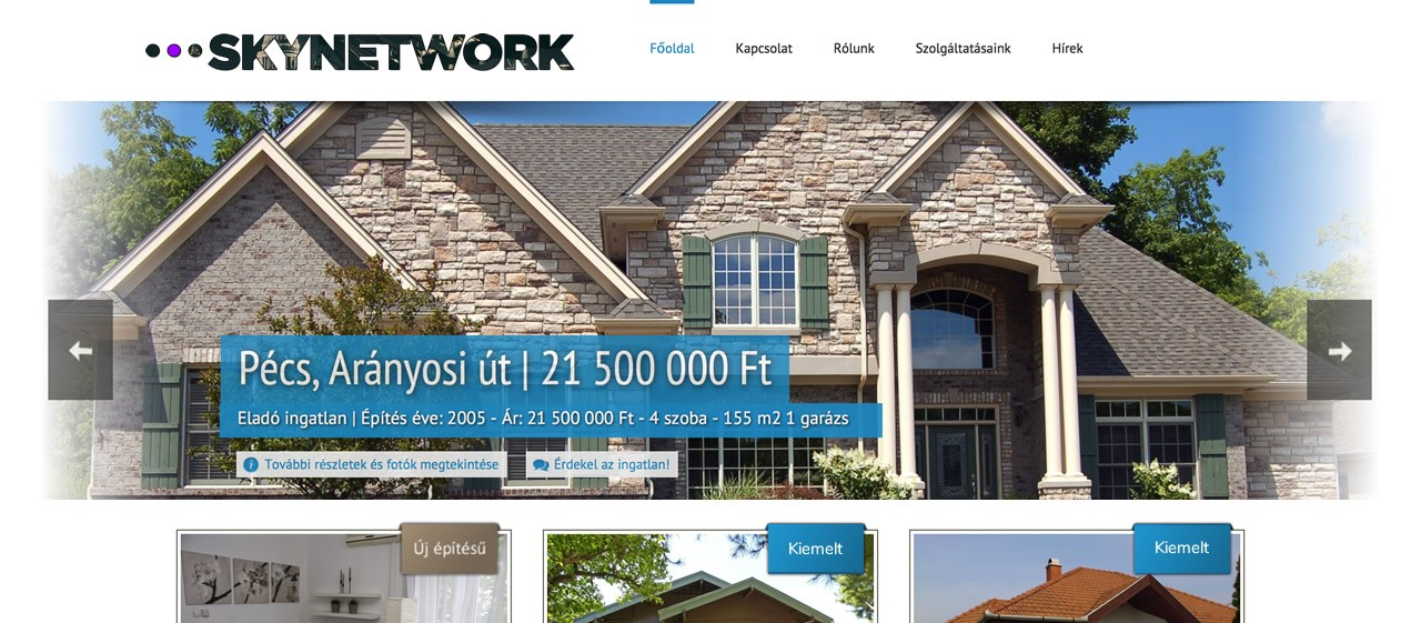 ingatlan Speciális weboldal készítés