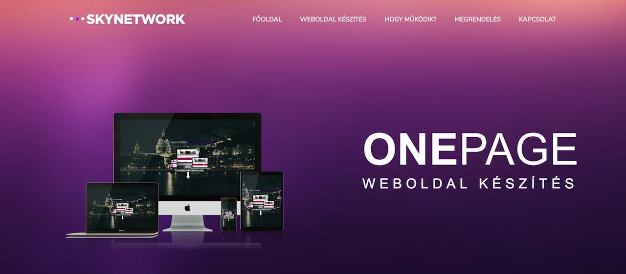 onepage OnePage weboldal készítés